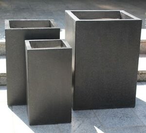 6 x Terrazzo Blumenkübel, Quader, schwarz, Pflanztopf, Pflanzkübel, Blumentopf