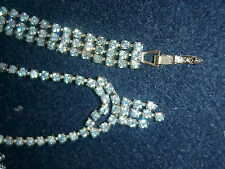 BABY BLUE RHINESTONE MINI PARURE, WITH UNIQUE PIN, & TRIPLE STRAND BRACELET