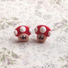 earrings Mario Mushroom Red Studs Funky Kitsch Cute Handmade Emo Game 90s