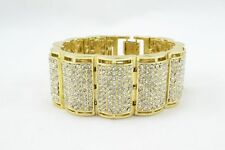 Mens Gold Plated Fancy Iced Out Cubic Zirconia Wrist Bracelet BLING wb#7985