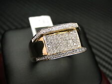 Mens Diamond Ring 14K Yellow Gold Round Brilliant Cut Micro Pave Set 0.33Cts