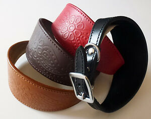 Embossed Paisley Leather Whippet Collar Greyhound Collar colliers pour lévriers