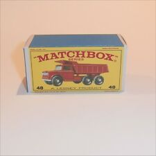 Matchbox Lesney 48 c Dodge Dumper Truck empty Repro E style Box