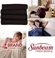 Electric Blanket Fleece Heated Throw Bedding Winter Warm Sunbeam Full Walnut