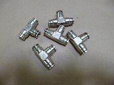 """5pc Norgren Stainless Steel Pneumatic Tee Tube Push In Connector OD 5/16"""" Tube"""