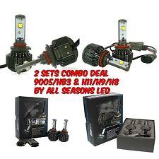 2 Sets Combo Hi & Lo Beam 60W 7200LM/Set LED Headlight Kit, 9005 and H11, 6000K