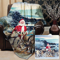Real Santa And Reindeer Christmas Snow Scene Fleece Blanket Cover Throw Over