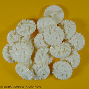 """White Nylon Shank Buttons - 18 mm (11/16"""") - Selection C - Choice of 6 Designs"""