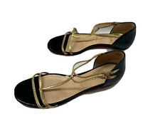 Christian Louboutin Black/ Gold Patent Leather Strap Flat Shoes Size 39.5/ 9.5 M