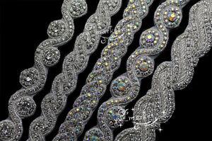 1 Yard AB crystal rhinestone beaded trim applique Iron on bridal costume sew on