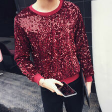 Men Sequin Bling Sweater Long Sleeve Gleam Pullover Shirt Top Shiny DJ Clothing