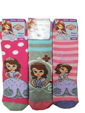 GIRLS DISNEY CHARACTER SOFIA THE FIRST PRINCESS SLIPPER SOCKS WITH GRIPPERS