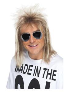 Men's Long 80s Eighties Mullet Blonde Wig Rocker Fancy Dress