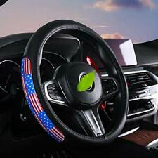 Leather US American flag Car Steering Wheel Cover Auto Anti-slip Protector 15''