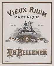 """""""VIEUX RHUM MARTINIQUE / GRAND VENEUR (Th. BELLEMER)"""" Etiquette litho originale"""