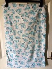 """Vintage 2 flannelette white blue floral pillow slip/case/cover.18"""" x28"""", M/wash"""
