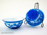 Vintage Chinese Export Sapphire Blue Overlay Peking Glass Bowl Set / Pair