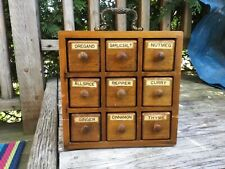 Vintage wood dresser drawer style spice cabinet, made in Japan MCM apothecary