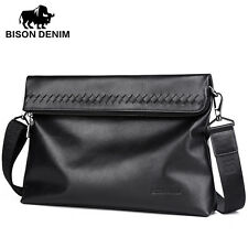 BISON DENIM Soft Italian Genuine Leather Men Casual Messenger Bag Holiday Style