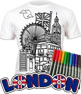 Splat Planet Colour-in London T-Shirt 10 Magic Pens-Colour-in and Wash Out
