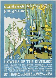 Flowers of the Riverside, Edward McKnight Kauffer, 1920, English Travel Poster