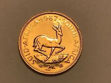 More details for superb 1967 2 rand 22ct gold 8g rare coin (sovereign size) krugerrand unc