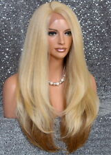 Human Hair Blend Full Lace Front wig Heat OK Long Straight JSLA Blonde mix 61327