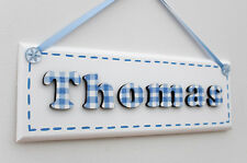 Boys wooden bedroom door sign / name plaque: blue and white gingham