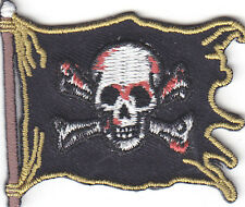 PIRATE FLAG PATCH w/SKULL & CROSSBONES PATCH/Iron On Applique/Biker, Pirate