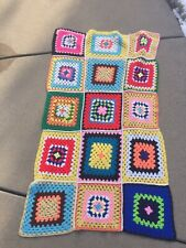 VINTAGE HANDMADE CROCHETED GRANNY SQUARE AFGHAN COLORFUL