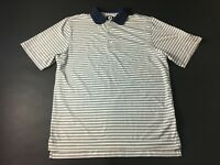 Footjoy Golf The Woodlands Mens White Striped Short Sleeve Polo Shirt Sz Medium
