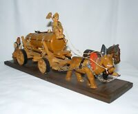 Wooden Black Forest Hand Carved Cast Wagon