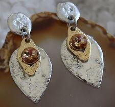 J Jansen Designer Earrings Swavorski Crystal Silver And Gold Glamour Glitz (1)