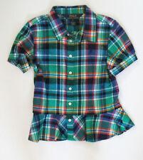 Polo Ralph Lauren Girls Plaid Peplum Top Shirt Green Multi Sz 6 - NWT