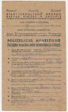 Reichskommissariat Ostland Polizeiliche Anmeldung Grodno 1940. (547)