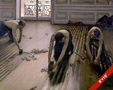 HAND SCRAPED WOOD FLOOR PLANERS FLOORING MEN PAINTING ART REAL CANVAS PRINT