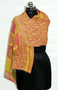 Vintage Kantha Scarf Handmade Stole Neck Wrap Shawls Cotton Floral Scarf Dupatta
