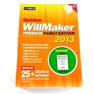 Quicken Will Maker Premium Family Edition 2013 Estate Plan Software Windows XP