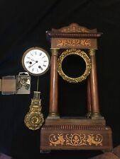 horloge pendule charles x colonnes marqueterie palissandre A RESTAURER