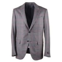 NWT $2395 ERMENEGILDO ZEGNA Gray-Pink Subtle Check Wool Sport Coat 42 R