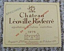 Vintage Wine Label 1975 Chateau Leoville Poyferre Specimen