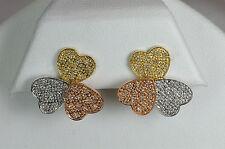 14K WHITE YELLOW ROSE GOLD OMEGA DIAMOND VALENTINE HEART EARRINGS