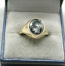 Gents Heavy 9ct Gold And Carved Hematite Centurian Signet Ring