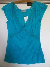 WALLIS Turquoise Sleeveless Crinkle V-Neck Top with Lace Trim, Size 10, BNWT