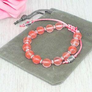 Handmade Adjustable Cherry Quartz Gemstone Cord Bracelet & Velvet Pouch. 6/8mm