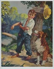 Cute 1935 Vintage print Boy in Overalls & Collie Dog Down at the Swimming Hole