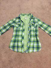 Mudd Size Small Girls Green Blue Plaid 3/4 Sleeve Button Western Shirt