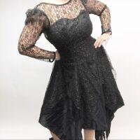 Vintage 80s Prom Dress Nuance Womens Puff Sleeves Asymmetrical Hem Black Gold M