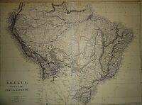 Vintage 1875 BRAZIL AMAZON BOLIVIA PERU ECUADOR MAP Old Antique & Authentic