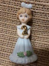 Enesco Growing Up Girls Birthday Doll or Cake Topper Brunette Hair Age 2